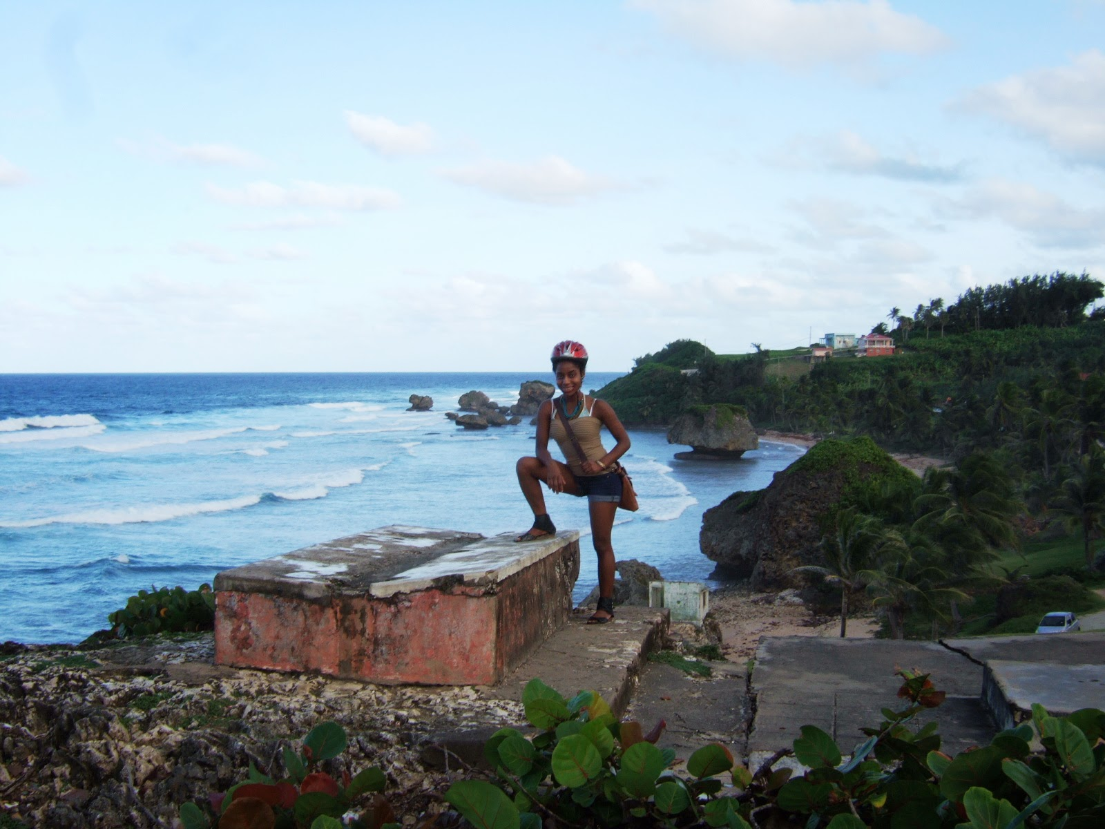 Me posing on a rock in Bathsheba beach