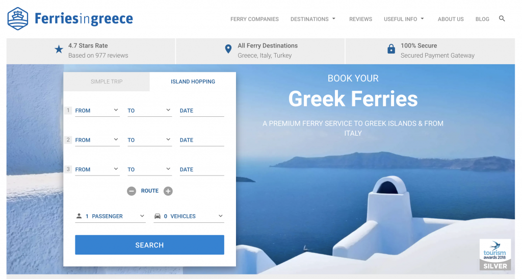 Ferriesingreece website example to optimize planning your trip to the Greek islands.